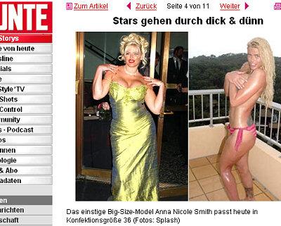 Das einstige Big-Size-Model Anna Nicole Smith passt heute in Konfektionsgröße 36