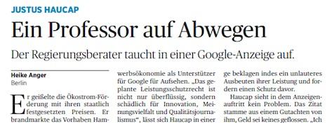 Justus Haucap Ein Professor auf Abwegen. Der Regierungsberater taucht in einer Google-Anzeige auf.