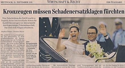 Kronzeugen müssen Schadenersatzklagen fürchten / Bildtext: Eine Kronprinzessin wie Schwedens Victoria hat es - zumindest bei ihrer Hochzeit - lustiger als ein Kronzeuge in einem Kartellverfahren