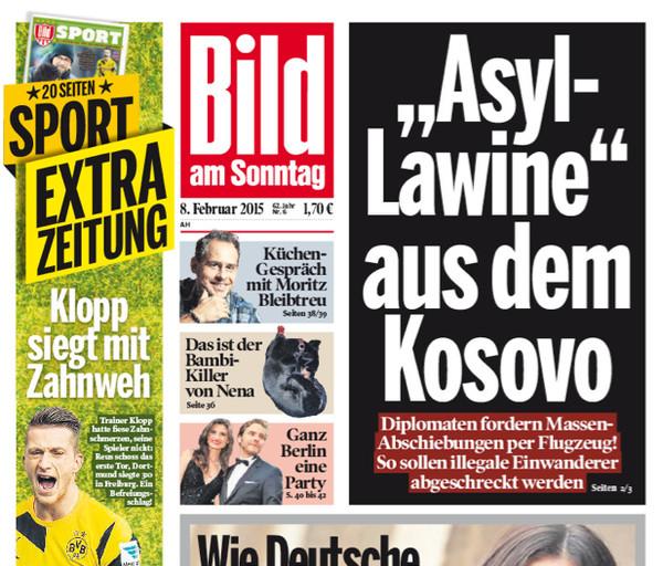 """Ausriss Titelseite """"Bild am Sonntag"""" 8.2.2015"""