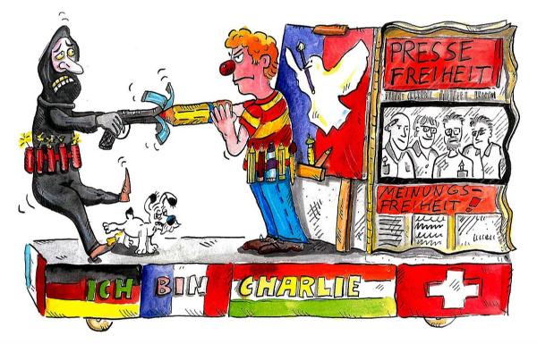 Motiv-Skizze des Charlie-Wagens beim Kölner Rosenmontagszug