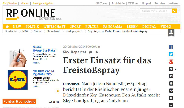 "Screenshot ""Rheinische Post"" 3.11.2014"