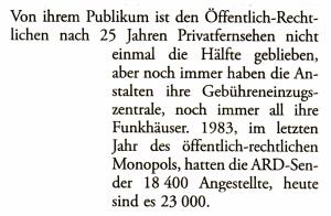 Von ihrem Publikum ist den Öffentlich-Rechtlichen nach 25 Jahren Privatfernsehen nicht einmal die Hälfte geblieben, aber noch immer haben die Anstalten ihre Gebühreneinzugszentrale, noch immer all ihre Funkhäuser. 1983, im letzten Jahr des öffentlich-rechtlichen Monopols, hatten die ARD-Sender 18400 Angestellte, heute sind es 23000.